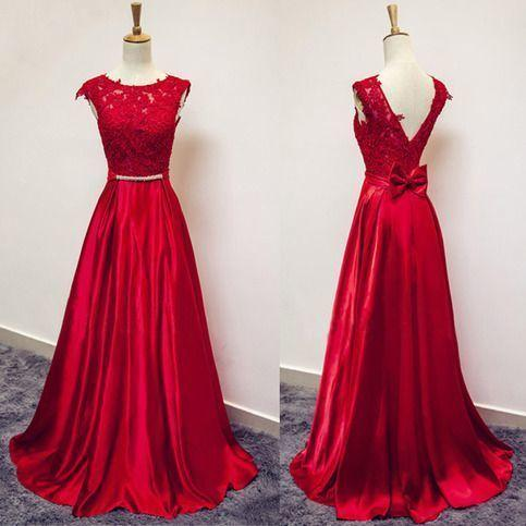 V Backless Red Lace Prom Dresses Long A-line Bateau Cap Sleeve Bow Ribbon Empire Waist Evening Gowns Dresses Evening Wear Formal Party Gowns