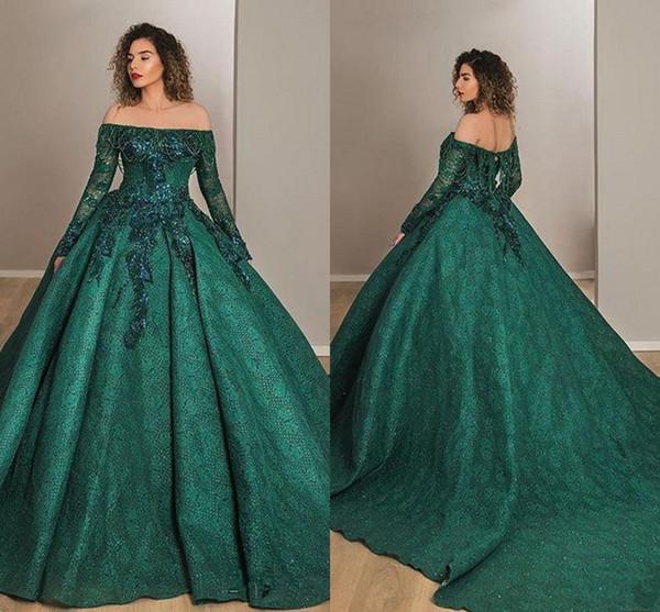 Koyu Yeşil Balo Gelinlik Modelleri Boncuklu Kapalı Omuz Dantel Aplike Uzun Kollu Klasik Arapça Ünlü Örgün Abiye Giyim AL4112