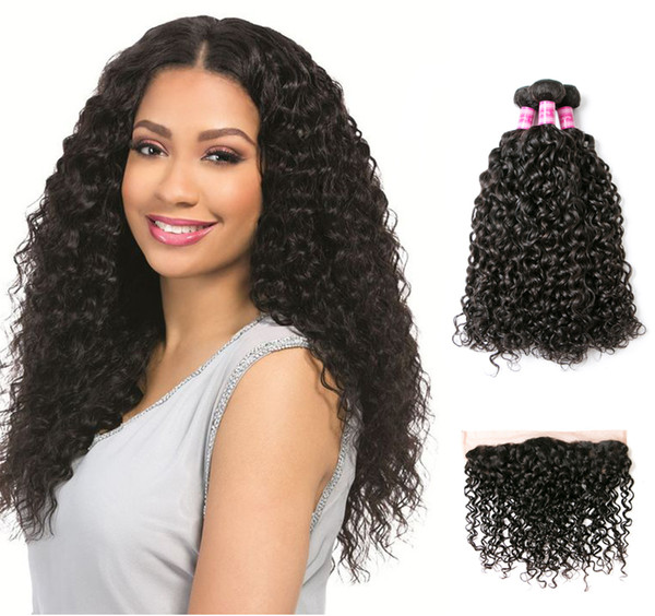 Perstar Water Wave Bundles With Frontal Brazilian Virgin Human Hair 3 Bundles With Lace Frontal Natural Colors Hair Extensions