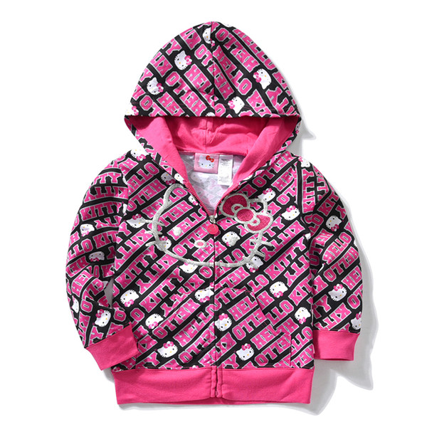 Kids Girls Pretty Hello Kitty Windproof Hoodies Childrens Jacket 2018 Windbreaker Clothes For Teens Coat Outerwear 8 10 12 Years