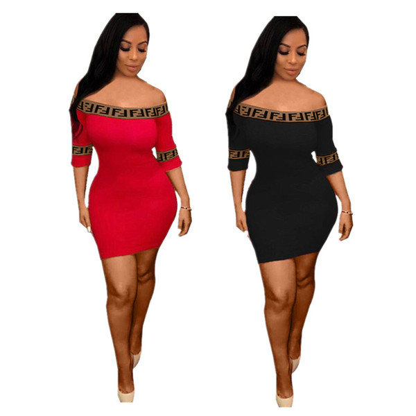 69a756a9dfff tight off shoulder dress Promo Codes - Women FF Dresses Skinny Sports Tight  Skirt Short Sleeve