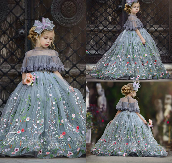 2019 Lindo vestido de bola de tul Vestidos de niña de flores Apliques de encaje Cuello alto Diamantes de imitación Niños Concurso Longitud del piso Fiesta de cumpleaños de la niña