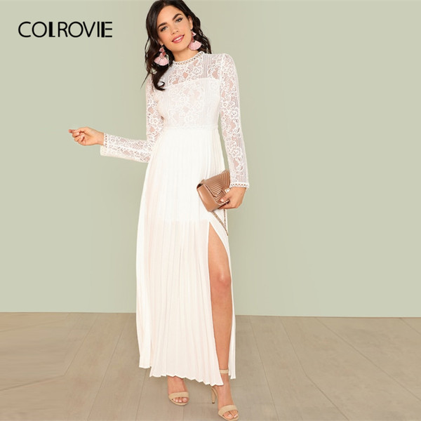 COLROVIE White Sheer Bodice Panel Pleated Lace Party Dress Women 2019 Spring Fashion Long Sleeve High Waist Elegant Maxi Dress