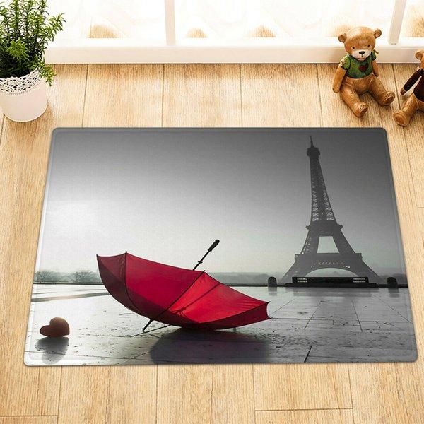 Torre Eiffel de París Paraguas Rojo baño Mat ángulo recto antideslizante Puerta del cojín infantil 40X60CM