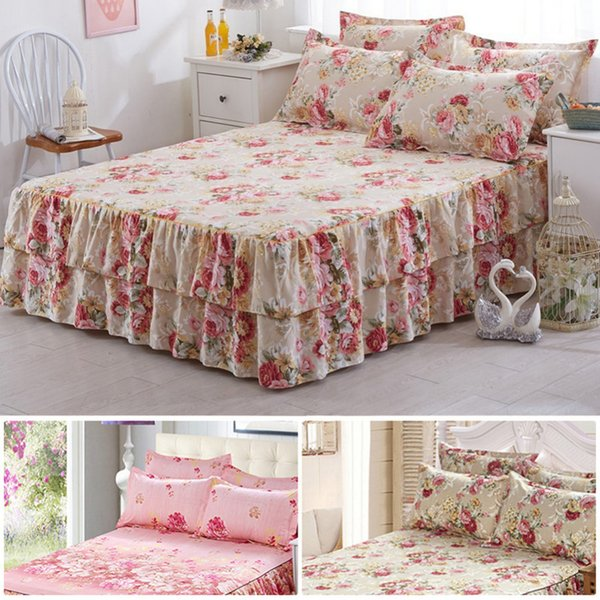 New Style Sanding Thickened Bed Skirt Dual Layers Bed Cover Fitted Sheet Queen Bed Skirt Dust Ruffle Home Supplies