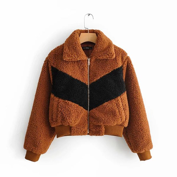 Women 2019 Patch Brown With Black Fashion Lambswool Warm Jacket Female Autumn-Winter Thick Casual Out-wear Coat casaco feminino