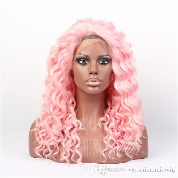 Top Quality 18inch Pink Color Kinky Curly Hair Free Part Heat Resistant Fiber 180% Density Glueless Synthetic Lace Front Wigs for Women