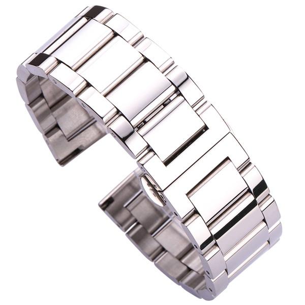 18 20 21 22 23 24mm Métal Montre Bracelet Homme Bande de haute qualité en acier inoxydable Bracelet Bracelet Double Fold déployante