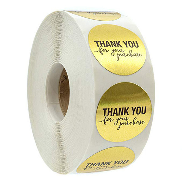 top popular 500pcs roll 1 inch gold round thank you adhesive label sticker envelope seal sticker baked papckage DIY sticker 2021