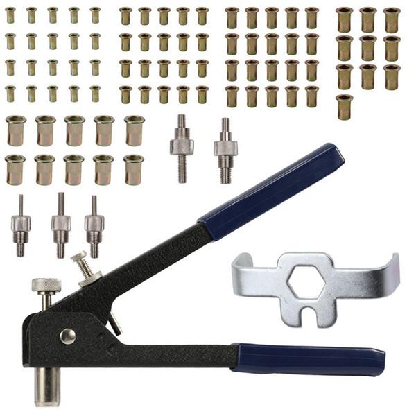 Freeshipping rivetto strumento inserto filettato kit rivettatura a mano dadi rivettatrice cassetta degli attrezzi set mano strumenti di riparazione manuale per rivetti automatici trapano ada