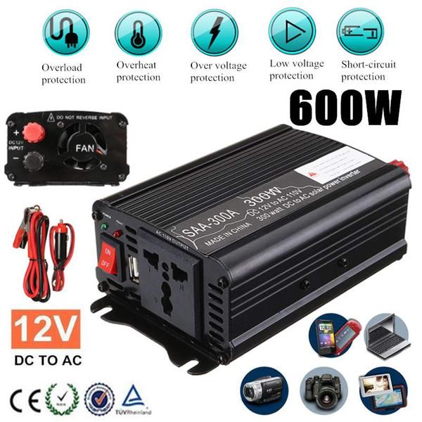 Convertidor autom/ático de energ/ía del Coche Azul + Negro KIMISS 12V Inversor de corriente para autom/óvil