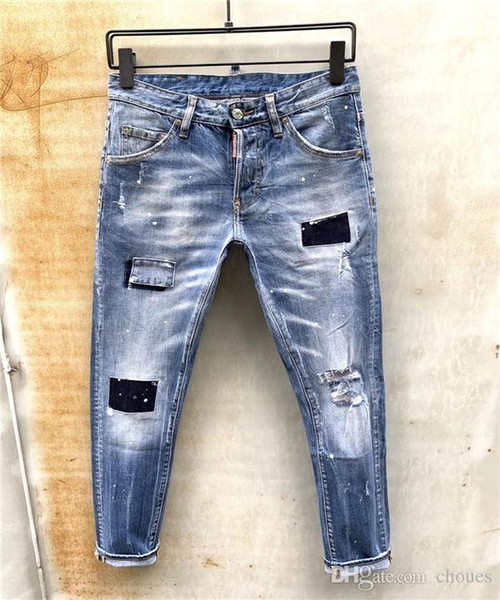 best selling dS2Men's Distressed Ripped Skinny Jeans Fashion Designer Mens Jeans Slim Motorcycle Moto Biker Causal Mens Denim Pants Hip Hop Men Jean