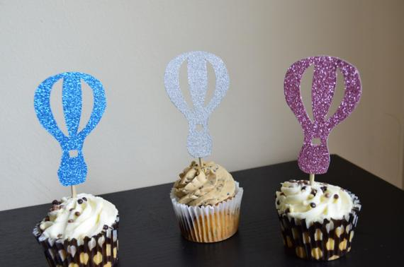 Glitter Hot Air Balloon Birthday Cupcake Topper. Cupcake Decoration. Secret Garden Party Decoration