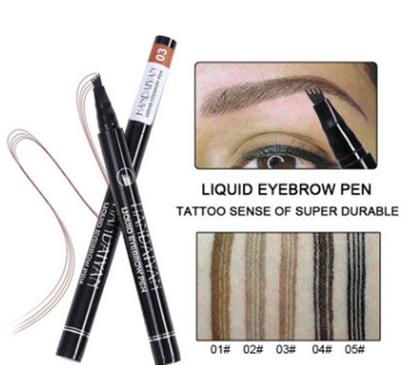 Dropshipping New Makeup HANDAIYAN 4-Head Liquid Tattoo Eyebrow Pen 5 Colors Eyebrow Enhancer Waterproof