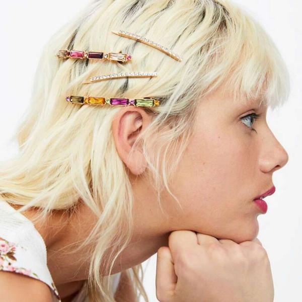bunte Diamant-Haarspangen der Art und Weise für Frauen Kristallbarrettenmädchen-Haarschmucksachen stellten 4 PC pro Satz ein, Geburtstagsgeschenk stellt freies Verschiffen dar