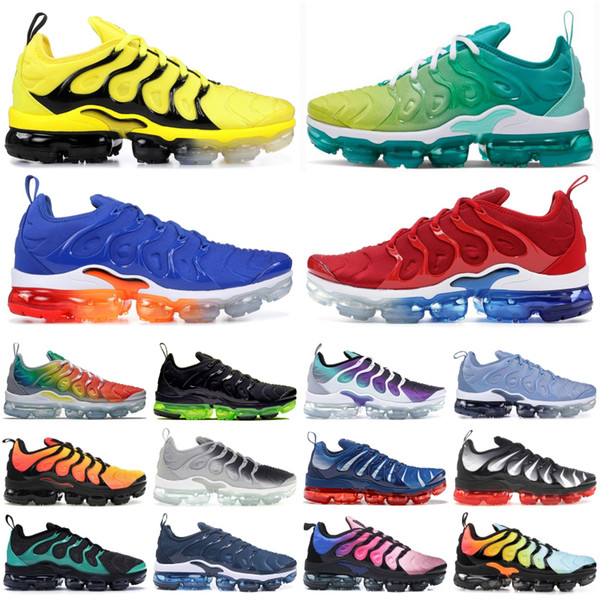Compre Nike Air Vapormax Plus TN Running Zapatillas Hombre Mujer Be True Grape Bumblebee Hyper Blue Rainbow Blanqueado Aqua Triple Negro Diseñador