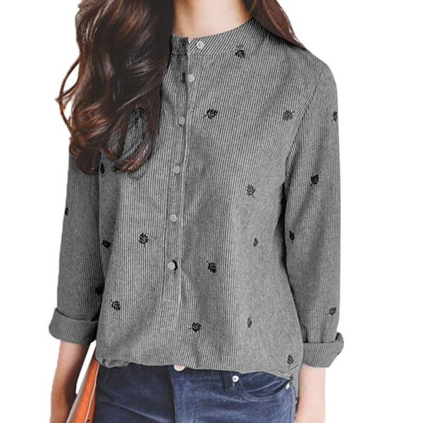 3B Embroidered Long Sleeve Denim Shirt