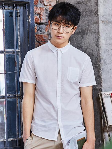 SEMIR Новый 2019 мужская рубашка из чистого хлопка Slim Fit Мода с коротким рукавом повседневные деловые рубашки Мужчины рубашки высокого качества Camisa