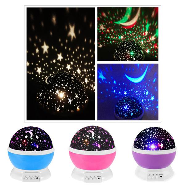 LED étoile tournante projecteur éclairage 7 styles lune ciel étoilé enfants bébé nuit sommeil léger batterie lampe de projection de secours DHL SS157
