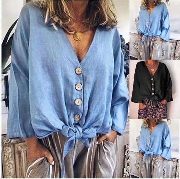 Camiseta de manga larga abotonada con cuello en V de algodón de verano para mujer Camiseta casual de moda W01