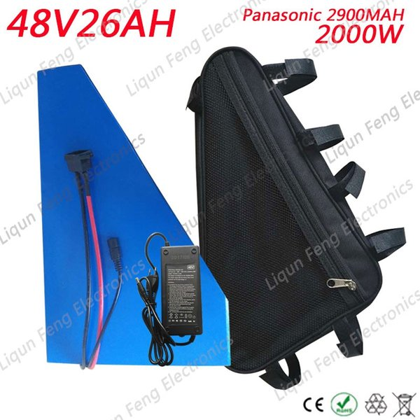 Free Tax 48V 26AH 2000W Electric Bike Triangle lithium Scooter battery pack Use Panasonic 2900MAH cell 50A BMS 54.6V 2A charger