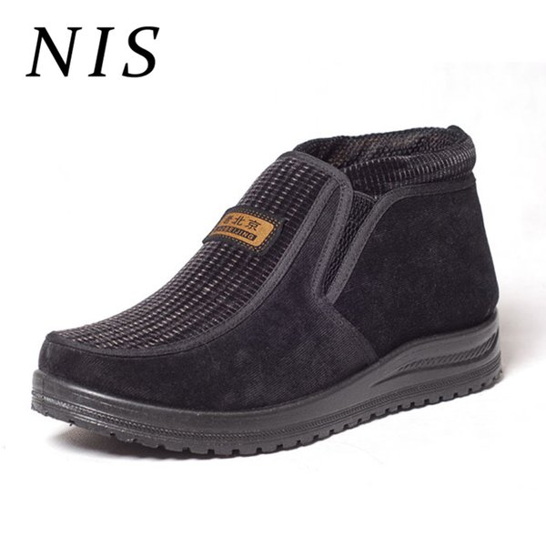 NIS Big Size Eur40-44 Corduroy Snow Boots Men Winter Shoes Fur Lined Ankle Boots For Men Shoes Slip-on Casual Booties For Gifts
