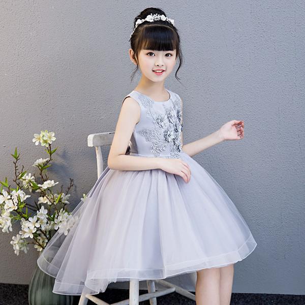 Sweet Argent Ivoire Applique à Fille Pageant Robes fille fleur Robes de soirée princesse robes jupe enfant Custom Made 2-14 H312183