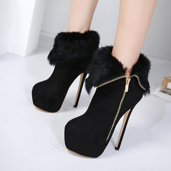 top popular 16cm Black Warm Fur Zip Side Platform Ultra High Heels Women Ankle Boots Come With Box Size 34 To 40 2021