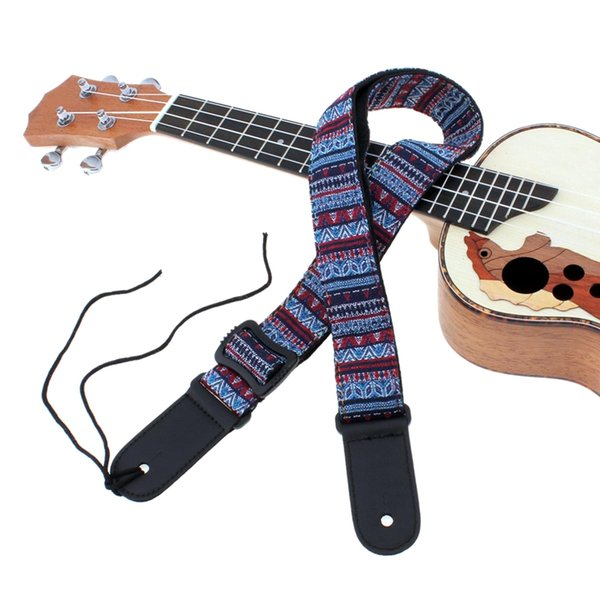 top popular Adjustable 75-130Cm Ukulele Guitar Strap Cotton Leather Sling Belt Buckle With Tail Nail 2020