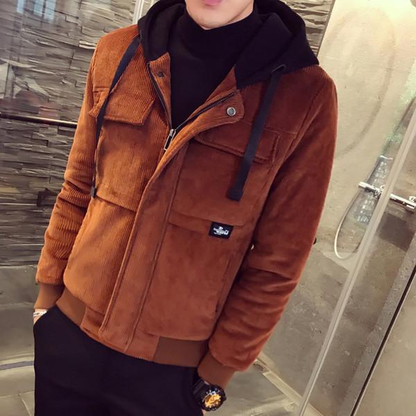 Corduroy Parka Men Winter Casual Thick Warm Corduroy Slim Fit Coat Kurtka Zimowa Men's Hooded Jacket Coat Manteau Homme Hiver