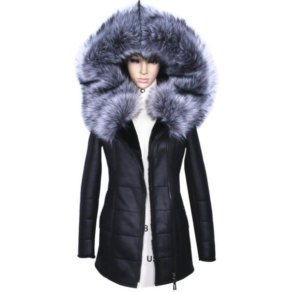 Veste d'hiver 2017 femmes épais artificielle Manteaux Mode Slim Faux Suede modèles féminins en cuir artificiel col de fourrure Outwear