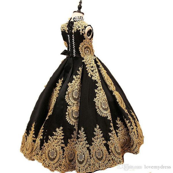 Pageant Kids Gown High Collar Golden Lace Black Tulle Flower Girl Dresses For Wedding Girl's Floor Length Child Party Birthday Dress