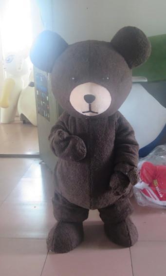 Última alta calidad sombrero de copa oso negro traje de dibujos animados oso traje de la mascota PROM vestido de falda del partido de ropa especial