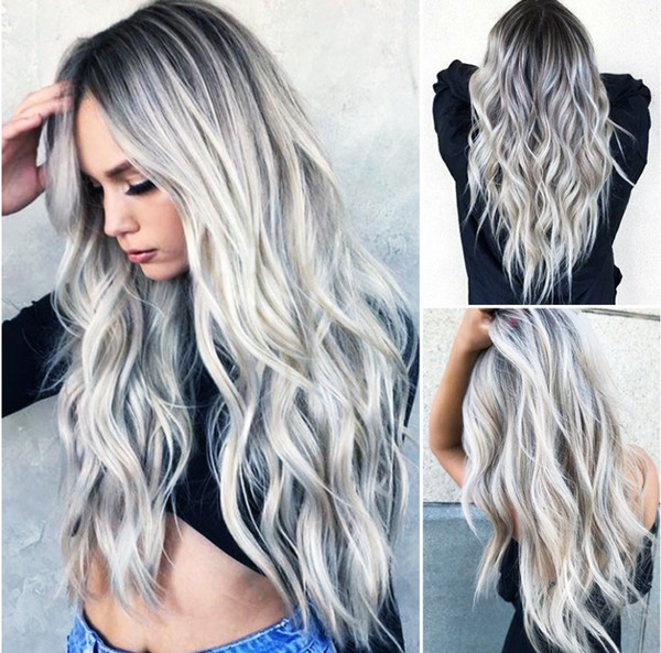 """28""""Fashion Long Hair Natural Wave Cosplay Wig Synthetic Wig Sexy Ombre Color Hair Style Role-playing Christmas Wigs"""
