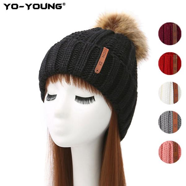 Yo-Jeunes femmes Simple Tricoté Chapeau d'hiver pour les filles Bonnet de laine fourrure Bobble balle Pompom Bonnets Chapeaux Gorros Femme Cap