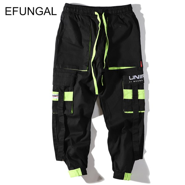EFUNGAL 2019 Spring Hip Hop Fashion Harem Streetwear Ribbons Track Pants Men Color Block Fashion Jogger Casual Trousers FD127