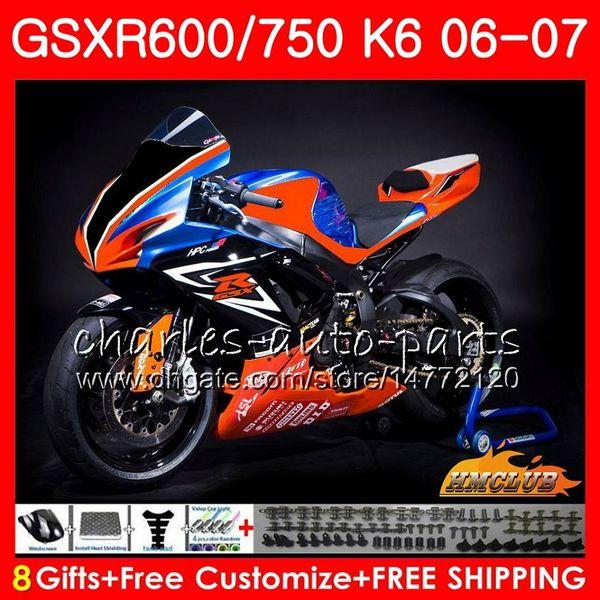 Karosserie Für SUZUKI GSX R750 GSX R600 GSXR 600 750 GSXR750 06-07 8HC.82 GSXR-750 GSX-R600 Race orange neuer K6 GSXR600 06 07 2006 2007 Verkleidungssatz