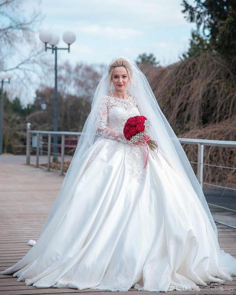 Élégant pure encolure dégagée dentelle robe de bal robe de mariée robes manches longues en satin appliques balayage train robe de mariée robes de mariée robes Robes