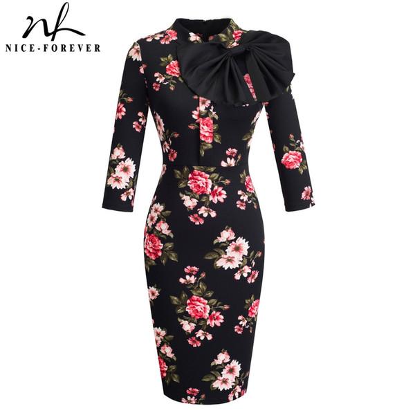 Nice-forever Vintage Elegant Floral mit Schwarzem Bogen Arbeit vestidos Büro Business Party Bodycon Frauen Etuikleid btyB244