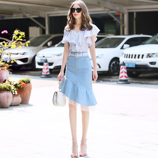 fc45ad14ef46 семья RMOJUL 2019 летняя одежда женская одежда новая полосатая рубашка с  плеча + костюм юбка бюст рыбий хвост