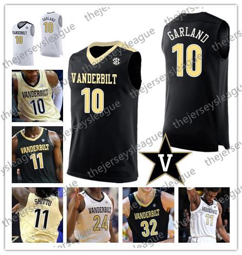 Vanderbilt Commodores Personalizado Cualquier nombre Cualquier número Cosido Blanco Negro Oro # 10 Darius Garland 30 Mac Hunt NCAA Baloncesto Jersey