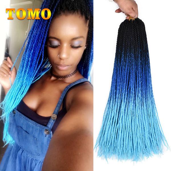 Сенегальский твист крючком косы черный синий светло-синий синтетический плетение наращивание волос женщина тонкий твист плетеные волосы Bluk 30 корни/упак.