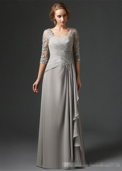 Silver 2018 Mother Of The Bride Dresses A-line 3 4Sleeves Chiffon Lace Plus Size Long Elegant Groom Mother Dresses Wedding Women Party Gown