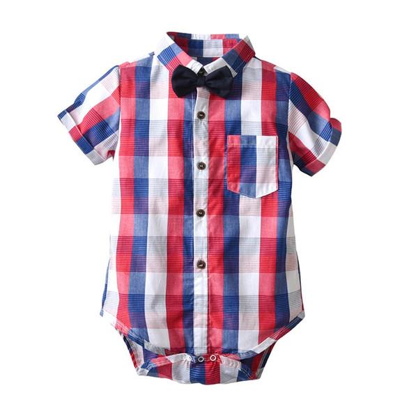 Newborn boys Rompers Green rad Plaid Pocket Single Breasted Gentleman Infant Summer Jumpsuit Baby Designer Clothes 1-3T