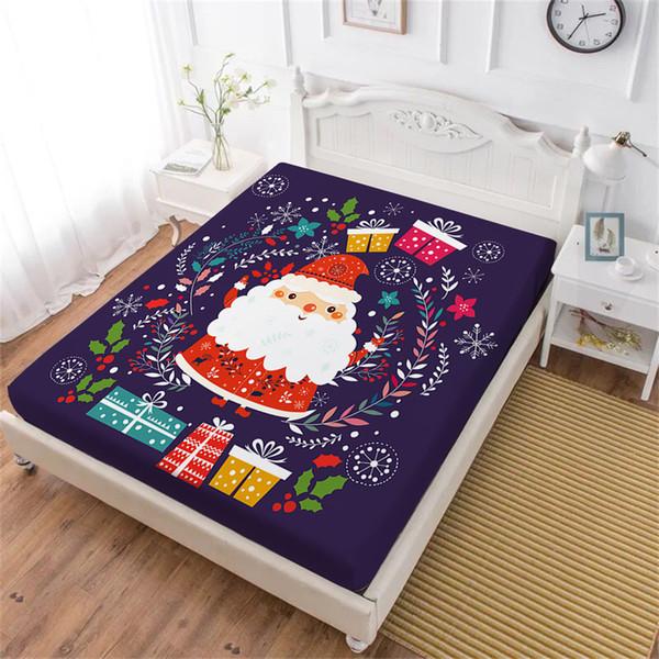Compre Multi Cor Folha De Cama De Natal Bonito Dos Desenhos Animados Papai Noel Lençol Colorido Presente Planta Imprimir Roupas De Cama Capa De
