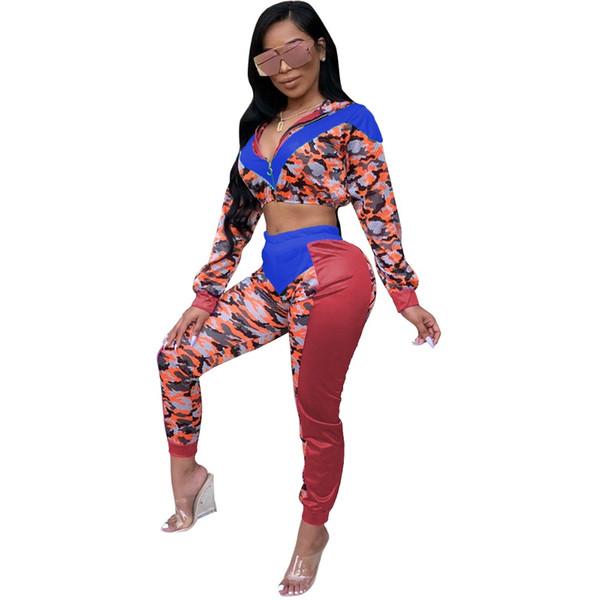 Tuta invernale tuta autunno camouflage stampa top con cappuccio pantaloni moda donna sexy set due pezzi tuta casual S-2XL