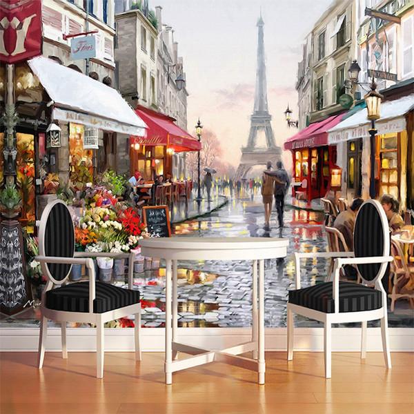 Europäischen Stil Straße Ölgemälde 3D Wallpaper Foto Wandbild Tapete Cafe Restaurant Interior Mode Dekor Wandpapier Papel De Parede 3D