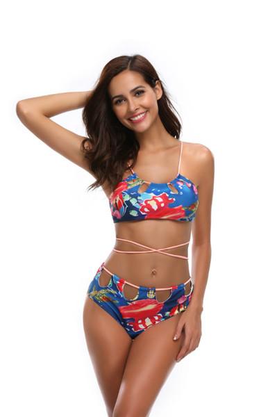 Mulheres Impresso Pouco Swimwear Fresco Com Fio de Tela Conectada Sexy na Europa E América de Alta Qualidade Praia Swimwear Explosivo