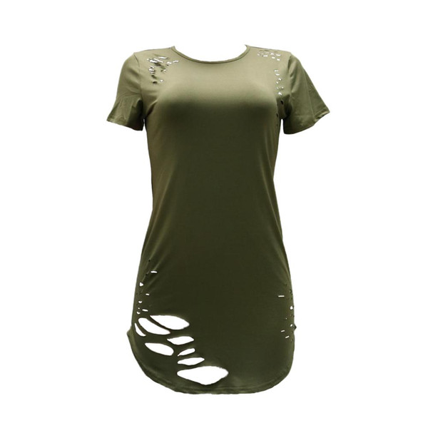 Women Ripped Hole Long T-Shirt Asymmetrical Hem O Neck Short Sleeve T Shirt Female Distressed Destroyed Casual Top Tee Plus Size