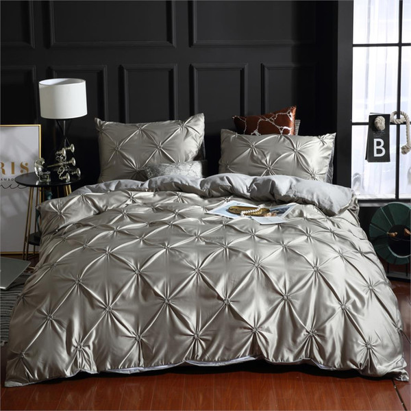 Silver&Gray Luxury 100% Super Soft Washed Silk Duvet Cover Set 3Pcs/Set Pinch Pleat Brief Bedding Sets Twin Queen King Size